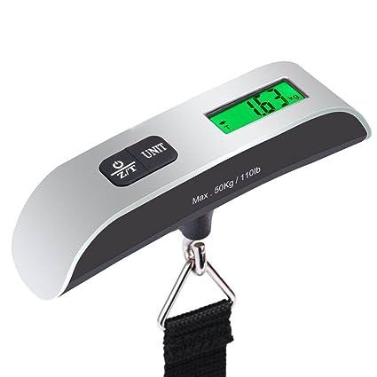 Básculas de Equipaje, Balanza de Equipaje de Pantalla LCD Retroiluminada con Sensor de Temperatura para