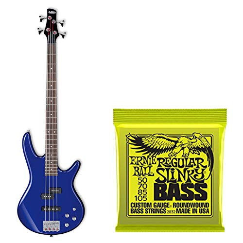 Ibanez GSR200 GIO Electric Bass Guitar (Jewel Blue) and Regular Slinky Nickel Wound Electric Bass Strings ()