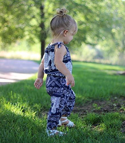 Pantalones con Estampado de Elefante Conjunto de Moda para Baby Girl Beb/é Reci/én Nacida Ropa Verano 2 Piezas Traje para Ni/ñas Peque/ñas Top Camiseta sin Manga de Tirantes