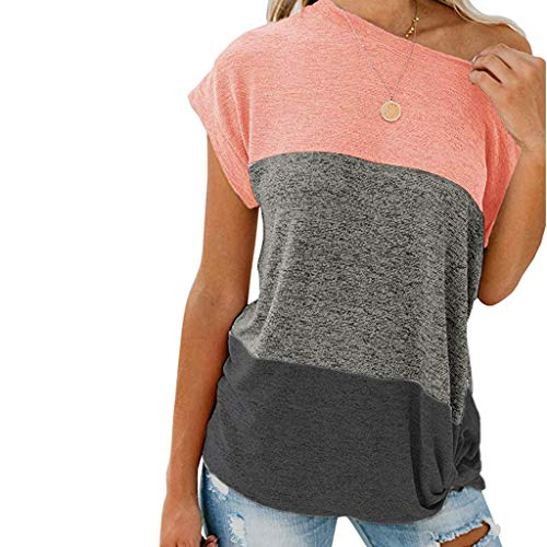 Round Neck Triple Color Block Stripe T-Shirt,Londony Women's Blouse Short/Long Sleeve Casual Tee Shirts Tunic Tops