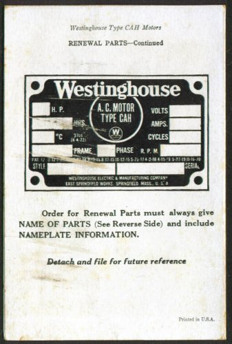 Westinghouse CAH Electric Motor Installation Card 1920s