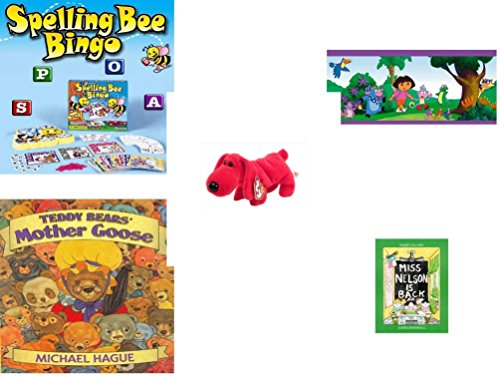 Children's Gift Bundle - Ages 3-5 [5 Piece] - Spelling Bee Bingo Game - Dora The Explorer Decorative Border - Beanie Baby - Rover the Red Dog - Teddy Bears' Mother Goose Hardcover Book - Miss (Dora The Explorer Bingo)