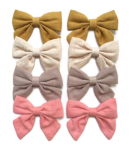 Linen Hair Bow Clips Barrettes, Hair Alligator Clips for Baby, Toddlers, Little Girls, School Girls