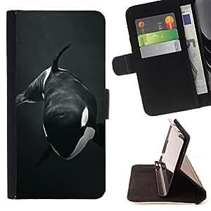 BullDog Case - FOR/Sony Xperia M2 / - / orca whale willy black white minimalist /- Monedero de cuero de la PU Llevar cubierta de la caja con el ID Credit Card Slots Flip funda de cuer
