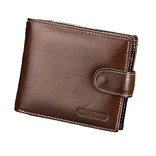 Fashion Korea Style Men's Cow Leather Flip out ID Wallet Card Holder Bags MQB001 (Brown)