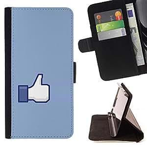 BullDog Case - FOR/Samsung Galaxy S6 / - / hand sign ok thumb up blue symbol simple /- Monedero de cuero de la PU Llevar cubierta de la caja con el ID Credit Card Slots Flip funda de cuer