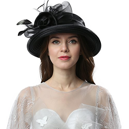 Original One Women's Cloche Bowler Hats KDC1701 for Kentucky Derby Day, Church, Wedding, Tea Party and More Formal Occasion (Black)