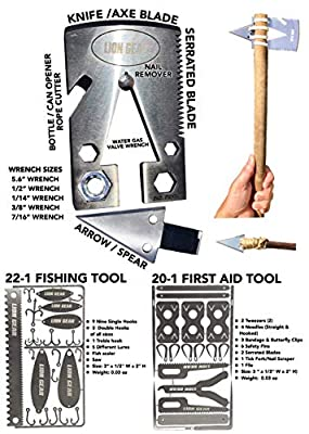 Medical, Fishing Survival Cards | Multitools for Surviving | Discreet Medic Card for Emergencies, First Aid | Stainless Steel Fisherman Outdoor Survival Kit | Survivor Tool Set for Fishing and Camping by LION GEAR