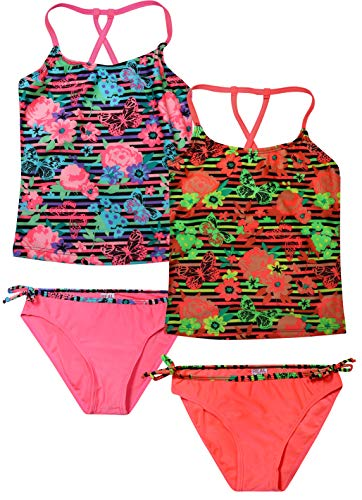 Real Love Girls' Tankini Bathing Suit Separates (2 Pack) (7-8, Striped Flowers)'
