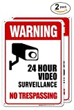 (2 Pack) 24 Hour Video Surveillance Sign, No Trespassing Sign, 10x14 Rust Free .40 Aluminum UV Printed, Easy to Mount Weather Resistant Long Lasting Ink Made in USA by SIGO SIGNS