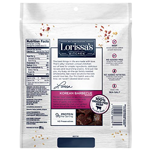 Lorissa's Kitchen Snack Packs, Grass-Fed Beef Steak Bites, Korean Barbecue, 0.5 oz., Pack of 20 - Keto Friendly, 5g of Protein, No Added MSG, Gluten Free Snacks