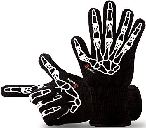 Designer Grillhandschuhe, Ofenhandschuhe, 33 cm lang, mit EN407 Zertifikat, Premium Qualität, bis 500°C, 1 Paar Fingerhandschuhe, verwendbar als Topfhandschuhe, Schutzhandschuhe.