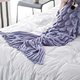 Fenghenshun Mermaid Tail Blanket For Adult,Super Soft and Fashion Sleeping Bags (Light purple)