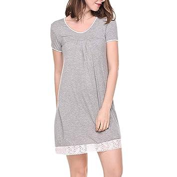 7b03deedb4036 Sunday Sommerkleider Damen Kurz Unterkleid Kurzarm T Shirt Kleid Einfarbig  Strandkleid Minikleid