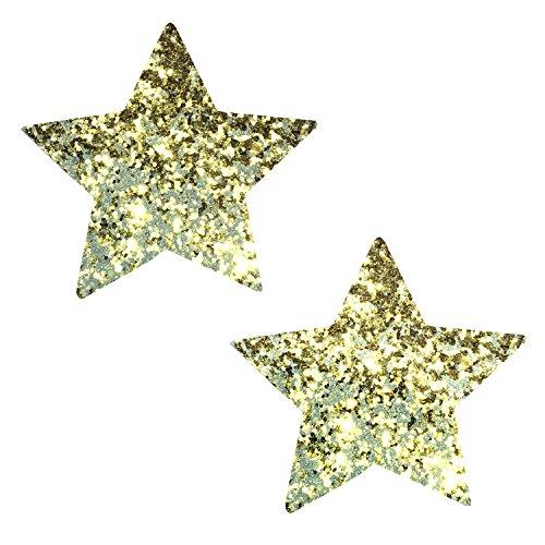 Neva Nude Super Sparkle Gold Glitter Starry Nights Nipztix Pasties Nipple (Wonder Woman Nude Cosplay)