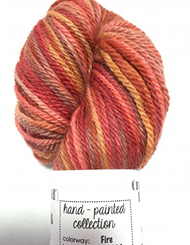 (Artisan Yarns Hand Dyed Baby Alpaca Yarn, Hand Painted: Fire, Dk Weight, 80 Grams, 200 Yards, 100% Baby Alpaca)