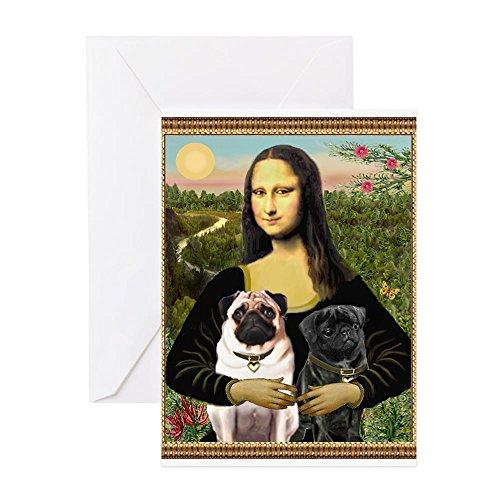 CafePress - Mona & Her 2 Pugs - Greeting Card, Note Card, Birthday Card, Blank Inside Glossy