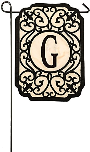 Evergreen Flag Filigree Monogram G Applique Garden Flag, 12.5 x 18 - Monogram Custom Boutique