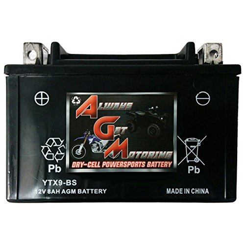 AGM Brand Or Similar Replacement For Arctic Cat 400 DVX400 0-2011 YTX9-BS Sealed Maintenace Free Battery High Performance 12V SMF OEM Maintenance Free Powersport Motorcycle ATV Scooter Snowmobile KMG -By Saskbattery SecurityBattery