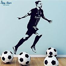 2016 NEW Poster Zlatan Ibrahimovic PSG Football Vinyl Wall Sticker Home Decor Wallpaper - Boys Bedroom Wall Mural Art Decoration 3D Decal