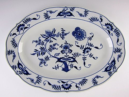 Blue Danube China BLUE ONION - Banner Stamp Oval Serving Platter (Blue Danube Blue Onion)