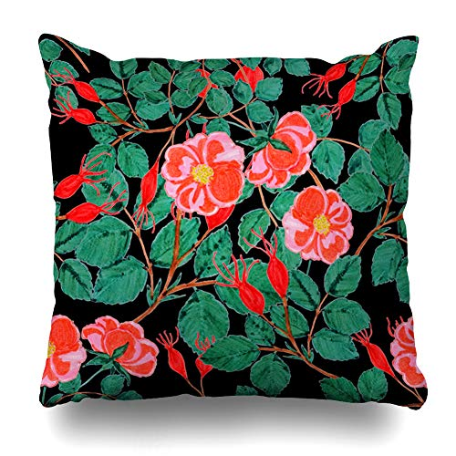Ahawoso Throw Pillow Cover Flower Autumn Floral Wild Abstract Nature Plant Pink Berry Bloom Botanical Design Briar Home Decor Zippered Pillowcase Square 16x16 Decorative Cushion Case ()
