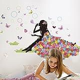 "SWORNA Nature Series Flower Butterfly Girl Blowing Bubble Removable Vinyl DIY Wall Art Mural Sticker Decal Decor - Living Room/Play/Bedroom/ Hallway/Kindergarten/Home Office Nursery/School 35""H X 52""W"