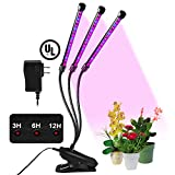30W Grow Light, OUSI Triple Head Grow Lights for Indoor Plants Automatic Cycle On/Off Timer LED Grow Lamp Equipped UL Adapter Control Panel 0-100% Dimmable Adjustable 360 Degree