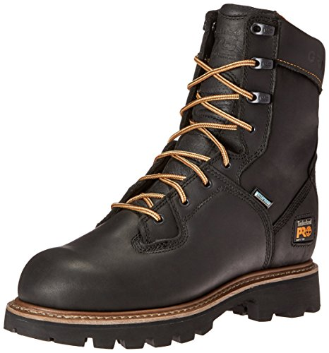 Timberland PRO Men's 8 Inch Crosscut Waterproof Soft Toe Logger Work Boot, Black Full Grain Leather, 10 M ()