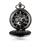 Antique Male Pocket Watch Mechanical Hand-Wind Skeleton Dial Fob Watch Christmas Gift (Black)