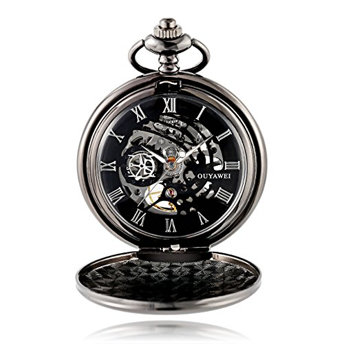 Antique Male Pocket Watch Mechanical Hand-Wind Skeleton Dial Fob Watch Christmas Gift (Black) by Ouyawei