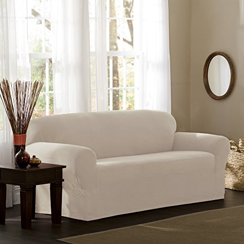 Maytex Reeves Stretch 1-Piece Sofa Furniture Cover / Slipcover, Natural