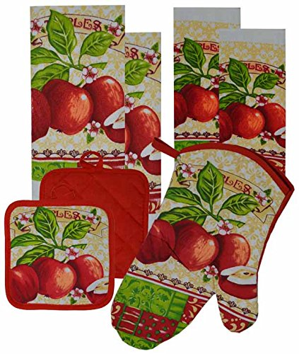 7 Pieces Kitchen Linen Set. (Oven Mitt, Kitchen Towels, Pot Holders, Dish Cloth) (Apple Dish Set)