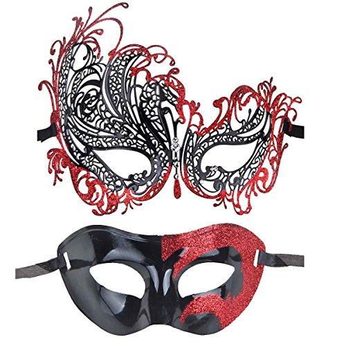 ECOSCO Couple Masquerade Mask Women Men Mardi Gras Venetian Ball Mask (Black-Red+Black-Red 2)) (Masks Ball Masquarade)