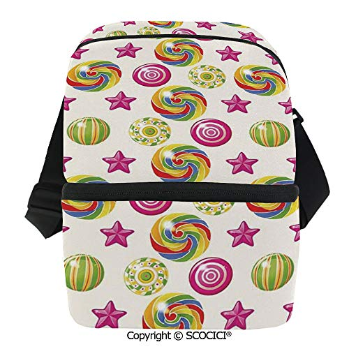 SCOCICI Collapsible Cooler Bag Cute Yummy Candy Rainbow Swirl Lollipop Sweet Figures with Stars Artsy Design Insulated Soft Lunch Leakproof Cooler Bag for Camping,Picnic,BBQ ()