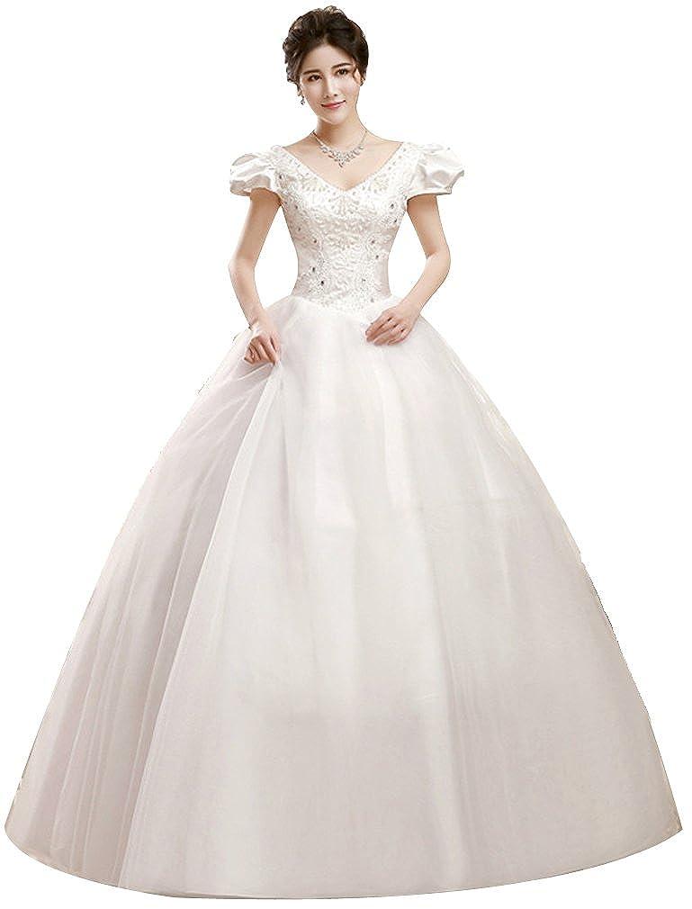 34dbd8229245 Eyekepper Double Shoulder V Neck Floor Length Bridal Gown Wedding Dress:  Amazon.co.uk: Clothing