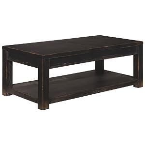 Ashley Furniture Signature Design - Gavelston Black Coffee Table - Cocktail Height - Rectangular - Weatherworn Black