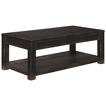 Ashley Furniture Signature Design   Gavelston Black Coffee Table   Cocktail  Height   Rectangular   Weatherworn