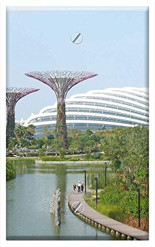 (Single-Gang Blank Wall Plate Cover - Singapore Marina Bay Gardens Trees)