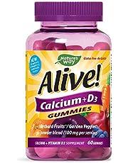 Nature's Way Premium Calcium + D3 Gummy + Orchard Fruits/Garden Veggies Blend, 60 Cherry & Strawberry Gummies