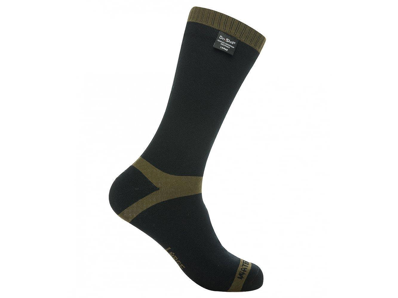 Dexshell – calcetines AquaThermal a la mitad de la pantorrilla, 100 % impermeable y transpirable, para senderismo., Hombre, color negro, tamaño Small: ...