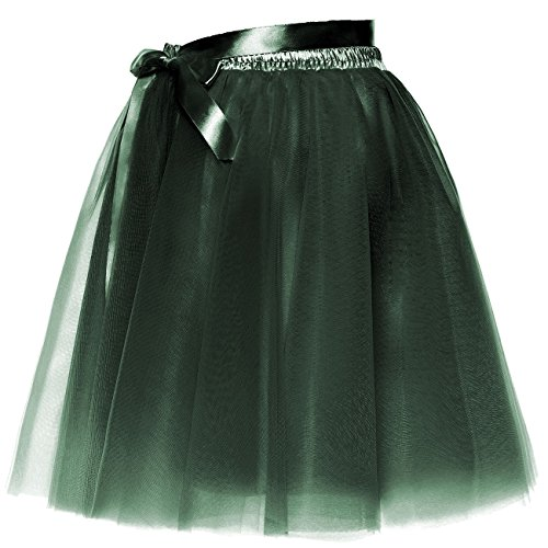 Jupe Verte Femmes BeiQianE Sash Layered Arme Short Slip Tulle Party Bowknot Amovible Jupon Prom fzw6qO1z