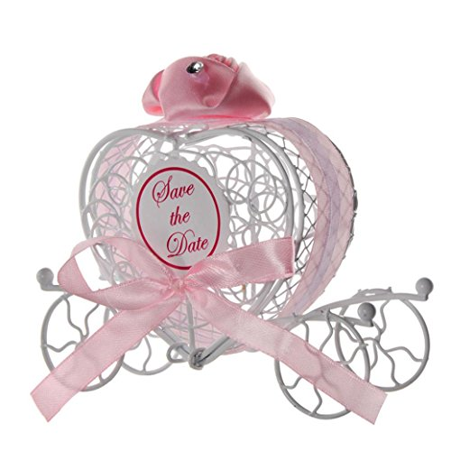 Transer Metal Candy Box Party Wedding Favors Boxes Romantic Carriage Sweets Chocolate Box (Pink) (Candy Sweet Box)