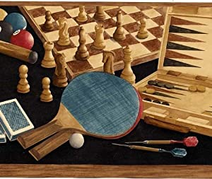 Game Room Wallpaper Border - Poker, Darts, Pool, Backgammon, Table Tennis, Chess - Black Background by Rolling-Borders.com