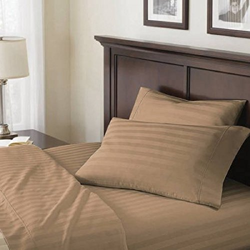 Better Homes and Gardens 100% Egyptian Cotton 400 Thread Count Damask Stripe Ultra Soft & Smooth Classic Flexi-Fit 4 Piece Sheet Set (Full, (Damask Stripe 400 Thread)
