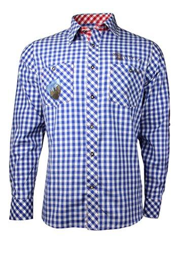 Fuchs Herren Trachtenhemd slimfit mit Sticker Gr. S-XXL (L, blau rot)