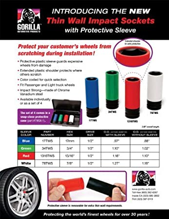 Gorilla Automotive 1316SKT Thin Wall Socket 13//16 Hex Size