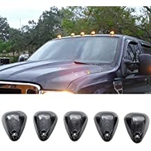 Lights Fit For 1999-2011 Ford F250 F350 Pickup | Truck Triangle Smoke Lens Top Led Cab Roof Lights by IKON MOTORSPORTS | 2000 2001 2002