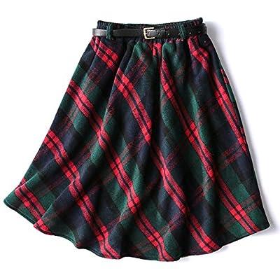 Gihuo Women's Wool Plaid Skirt Elastic Waist Midi Skirt Belt