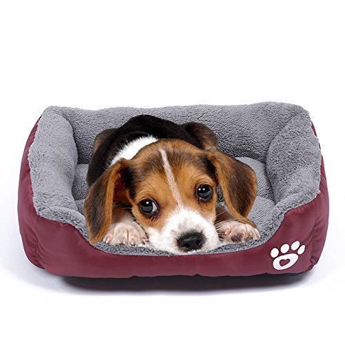 Barelove Pet Dog Bed, Washable Rectangular Pet Basket Bed , Durable and 100-Percent Waterproof and Fleece Lining Fit Most Pets (Small, Wine Red)  (Heated Pet Oval)